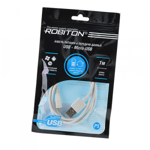 P5 USB A - MicroUSB, Charge&Sync, 1м белый