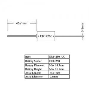LSC 1/2AA 1200мАч Индивидуальная упаковка